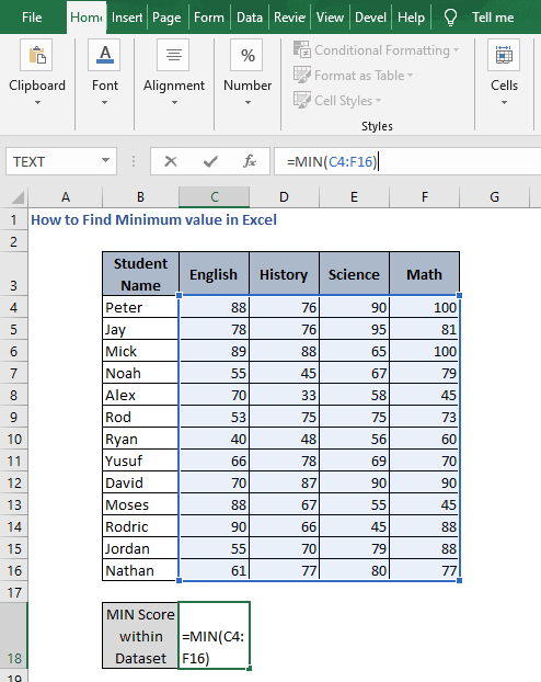 MIN for entire data - How to Find Minimum value in Excel