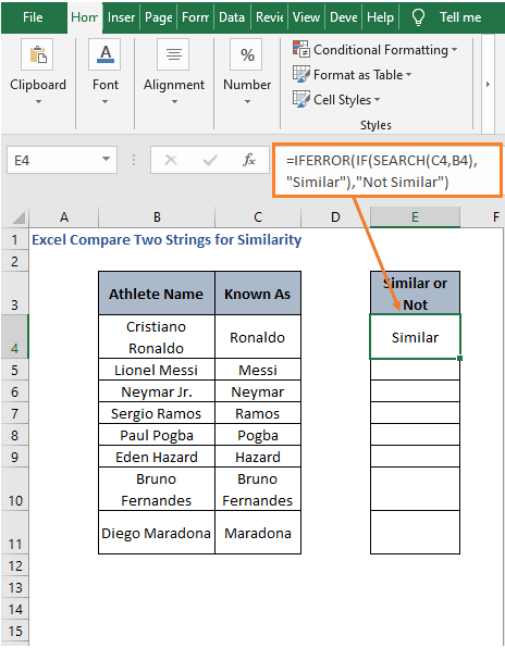 SEARCH -Excel Compare Two Strings for Similarity