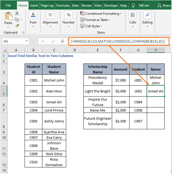 LOWER function - Excel Find Similar Text In Two Columns