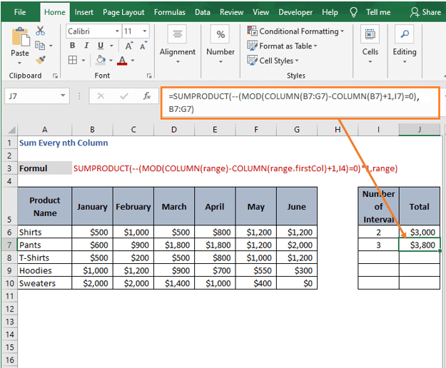 Result for Unary operators formula - Sum Every nth Column