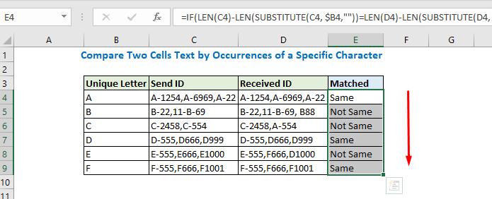 Copy the formula up to E9