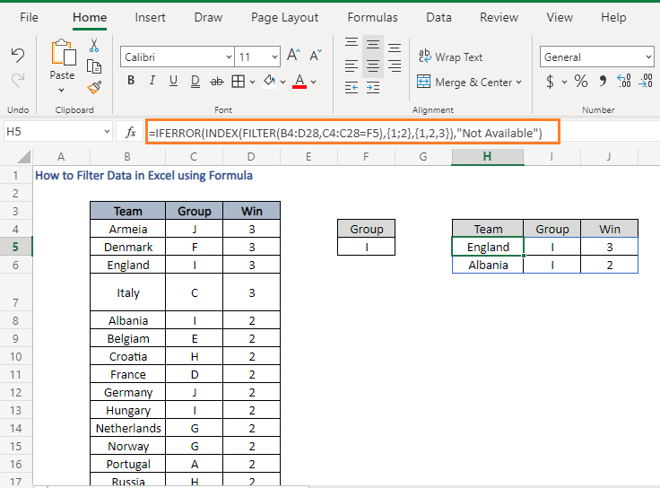 Desired rows-How to Filter Data in Excel using Formula