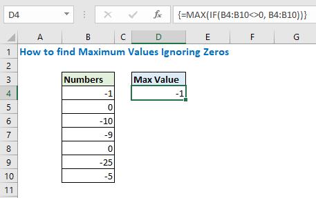 How to find maximum values ignoring zeros