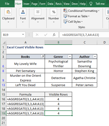 Aggregate 3-7-SUBTOTAL 102 filter result - Excel Count Visible Rows