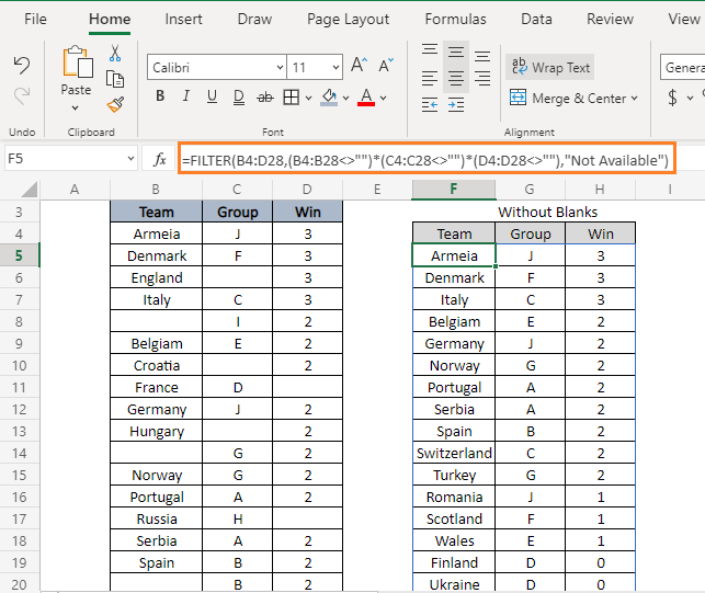 Blanks - How to Filter Data in Excel using Formula