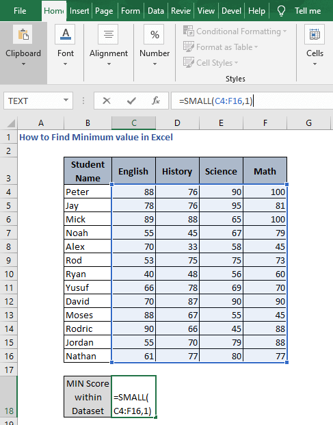 SMALL for entire data - How to Find Minimum value in Excel
