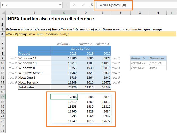 Return whole range using Excel Index Function