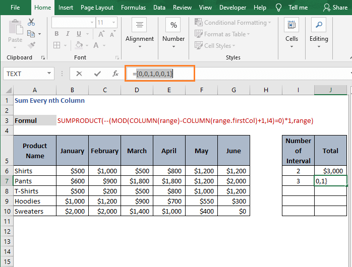 Result unary-Sum Every nth Column