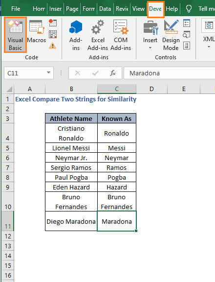 Visual Basic - Excel Compare Two Strings for Similarity