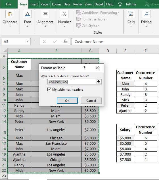 Format table box - Excel Count Number of Occurrences of Each Value in a Column