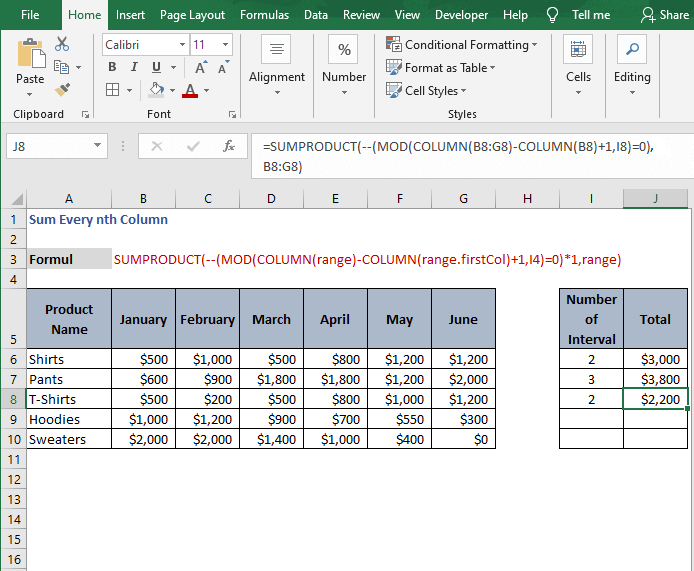 Example 2 for multiply array -Sum Every nth Column
