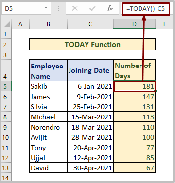 TODAY Function to Count Days from Date to Today