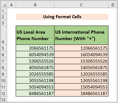 Output of format cells