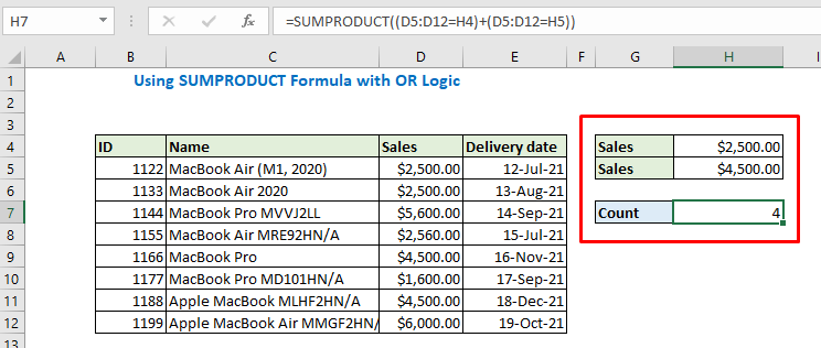 Enter sales and see the output