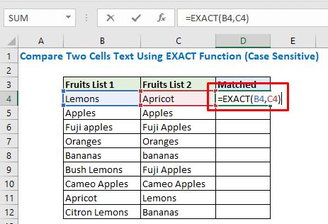 Enter the formula using EXACT