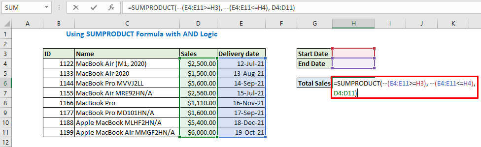 Enter the formula using SUMPRODUCT and press enter