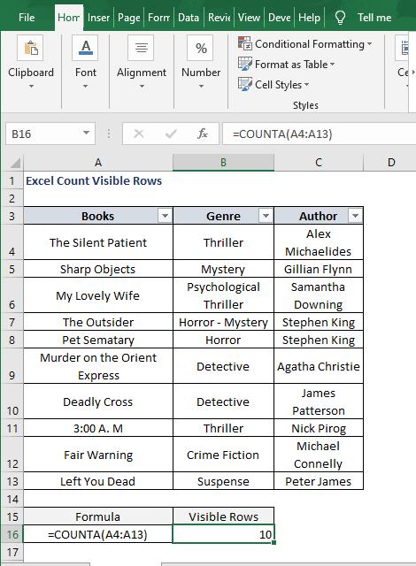 COUNTA- Excel Count Visible Rows
