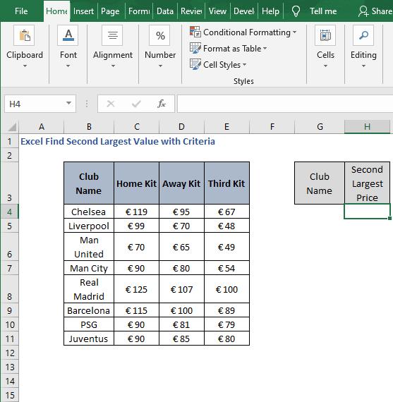 Criteria scenario - Excel Find Second Largest Value with Criteria