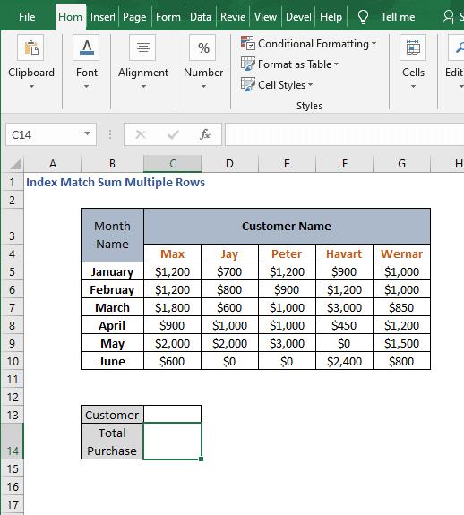 Scenario sheet - Index Match Sum Multiple Rows