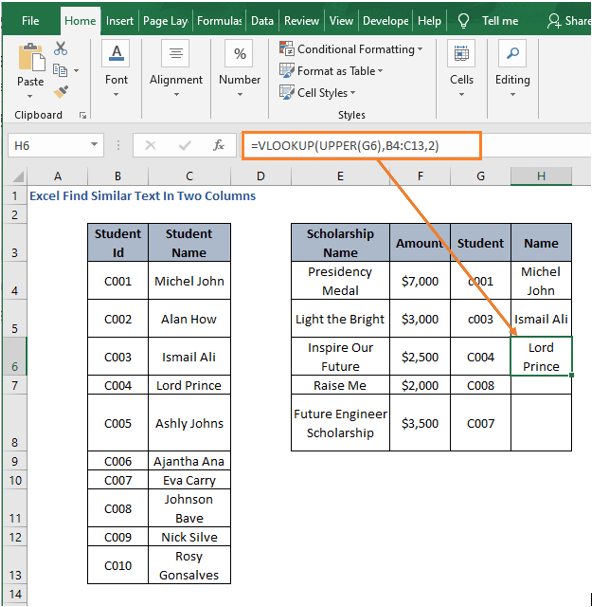 VLOOKUP- Excel Find Similar Text In Two Columns