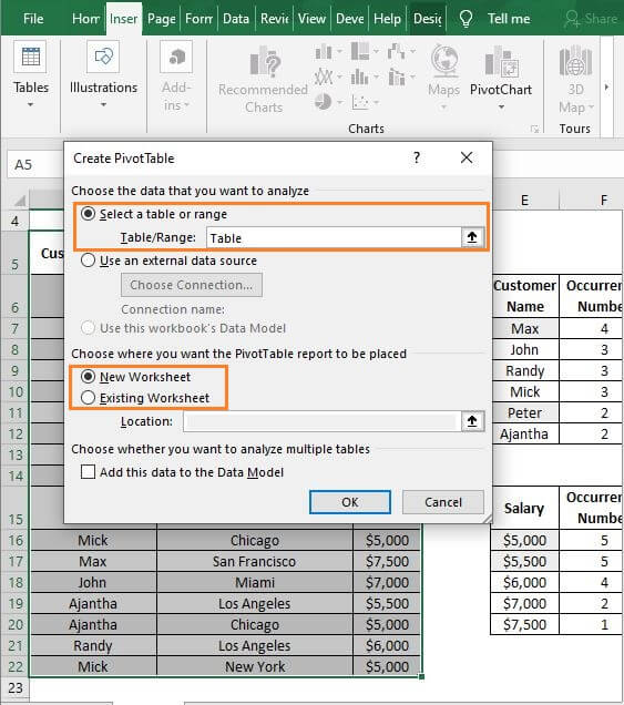 Table checklist-Excel Count Number of Occurrences of Each Value in a Column
