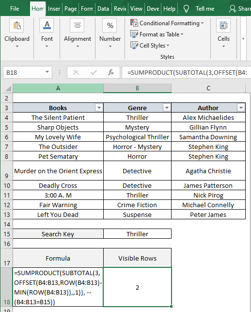OFFSET formula - Excel Count Visible Rows