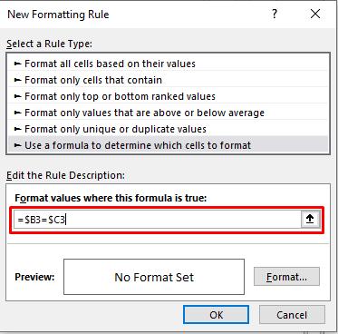 Enter formula or select the column