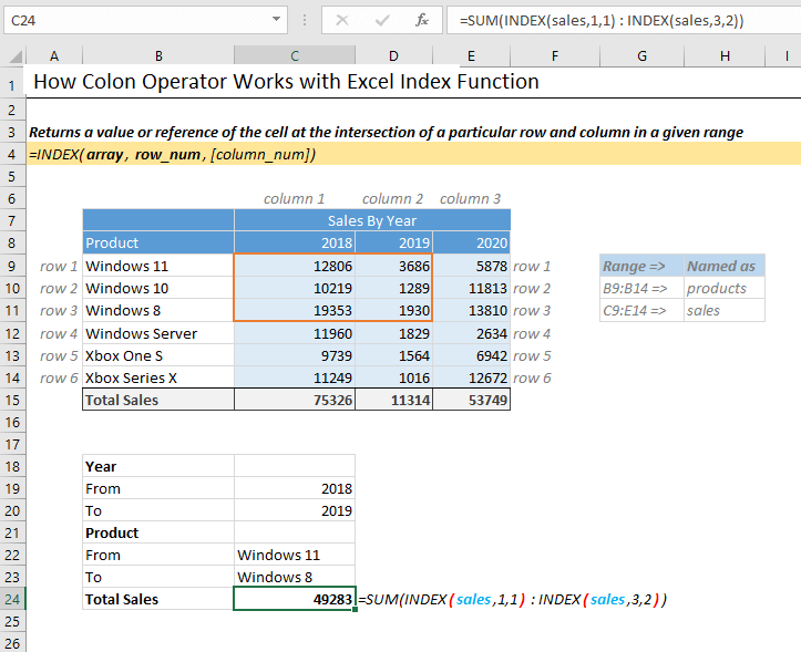 Colon operator working with Excel Index function