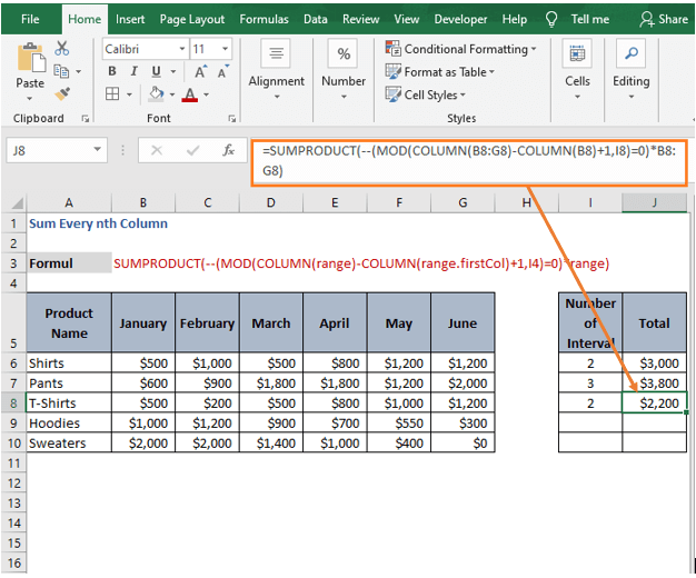 Result for multiple arrays-Sum Every nth Column