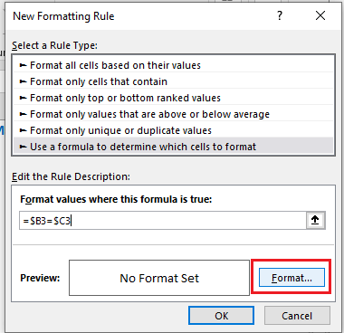 Click on the format option