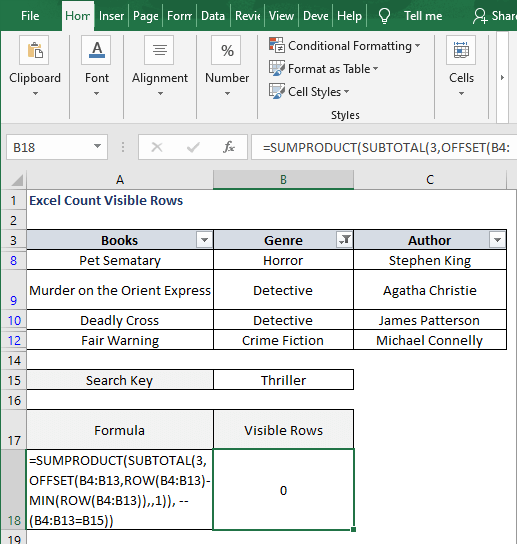 Filter OFFSET-Excel Count Visible Rows