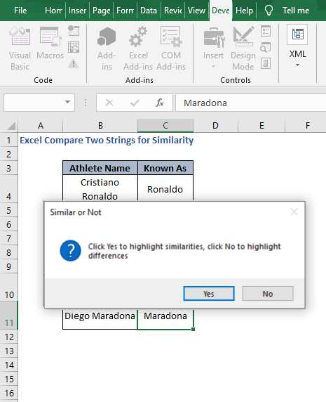 Similar or Not - Excel Compare Two Strings for Similarity