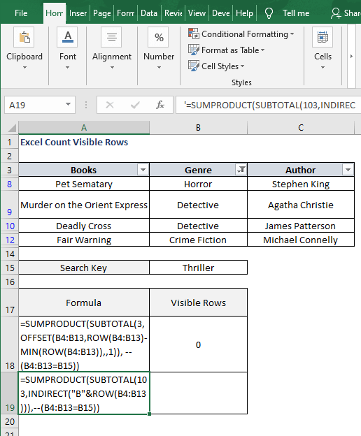 INDIRECT - Excel Count Visible Rows