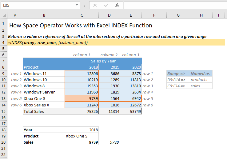 Space Operator with Excel Index Function