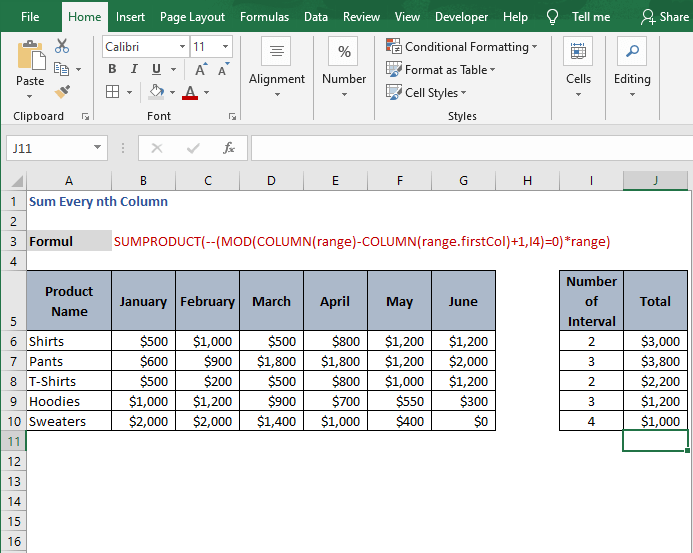All example - Sum Every nth Column