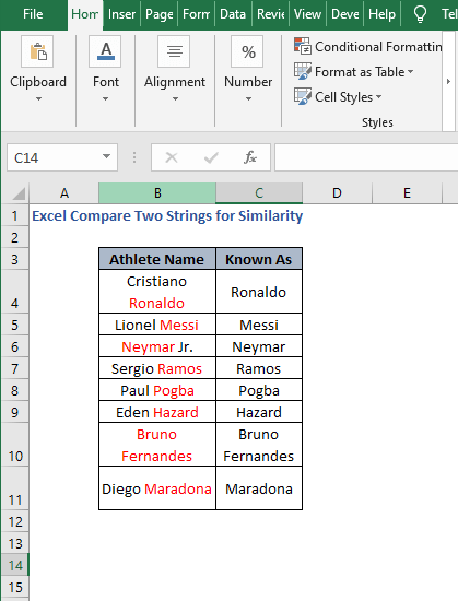VBA Code Result - Excel Compare Two Strings for Similarity