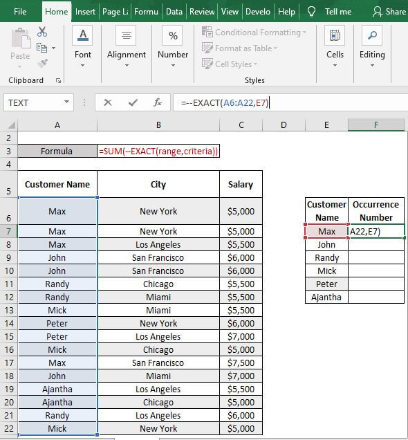 EXACT-Excel Count Number of Occurrences of Each Value in a Column