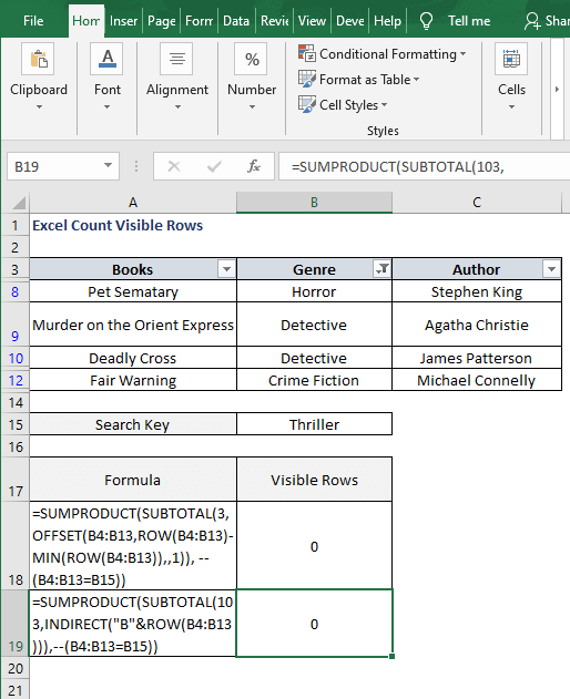 INDIRECT formula - Excel Count Visible Rows