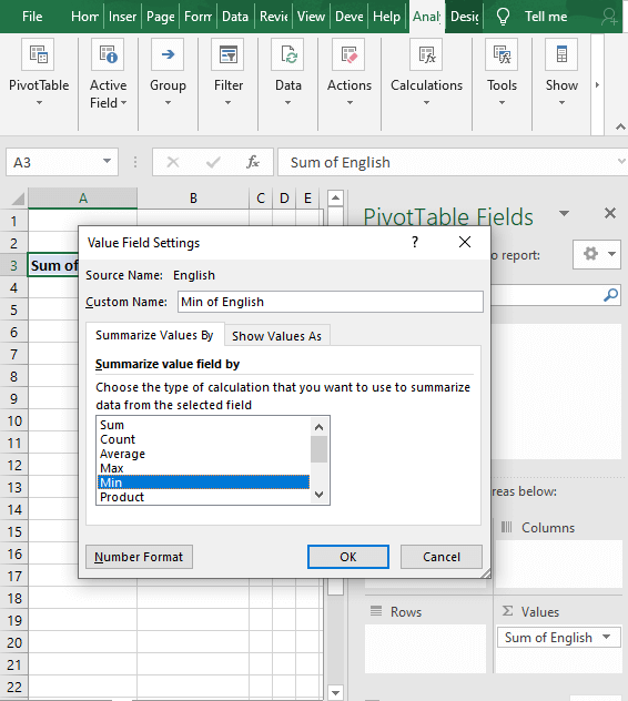 Value field dialog box - How to Find Minimum value in Excel