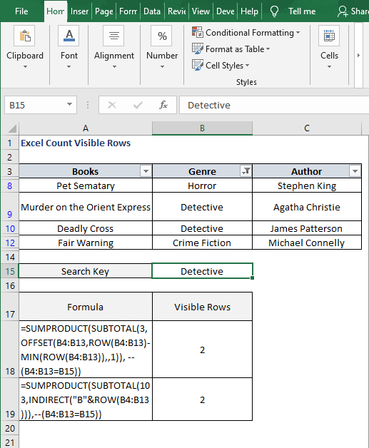Change Key - Excel Count Visible Rows