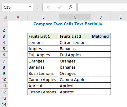 Compare two cells text partially
