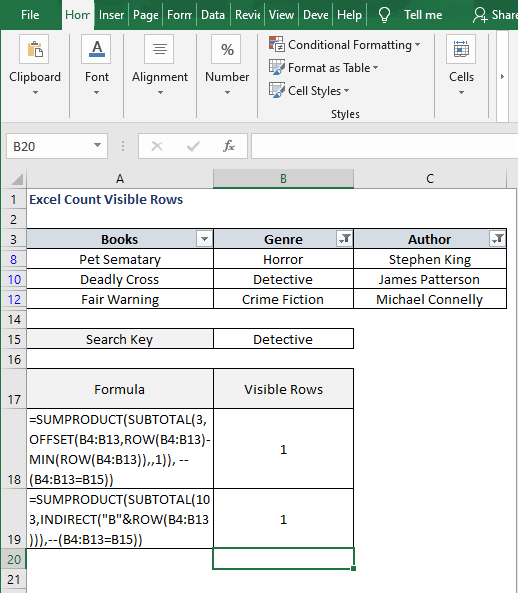 Filter indirect - Excel Count Visible Rows