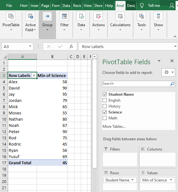 Any of the course selected - How to Find Minimum value in Excel