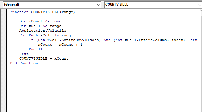 VBA code - Excel Count Visible Rows