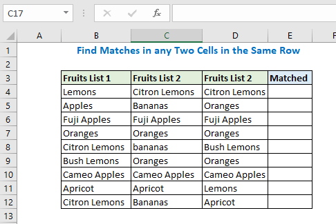 Find Matches in any Two Cells in the Same Row