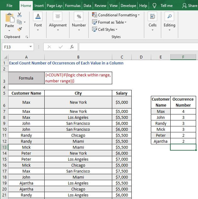 AutoFill count if - Excel Count Number of Occurrences of Each Value in a Column