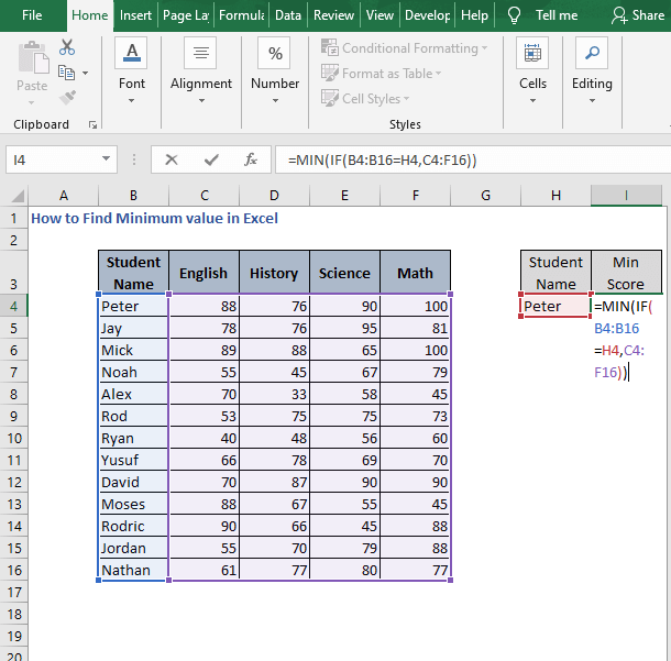 MIN-IF - How to Find Minimum value in Excel