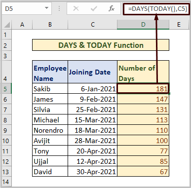 DAYS & TODAY Function to Count Days
