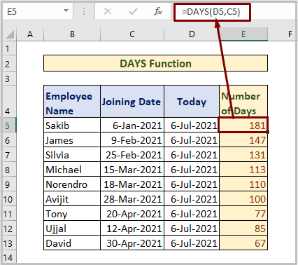 DAYS Function to Count Days from Date to Today