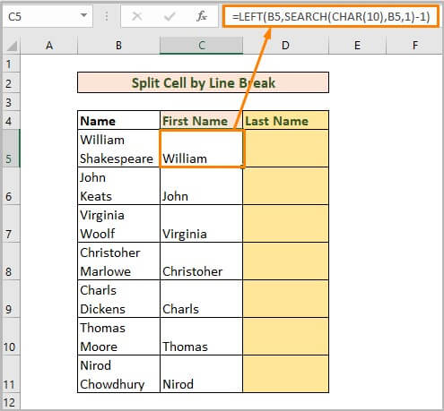 Split cell by line break